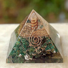HUGE 4 INCH ORGONE GREEN AVENTURINE CRYSTAL  PYRAMID W. COPPER, SACRED GEOMETRY