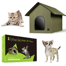 Mindkoo Cat Heated House Outdoor Kitty Water Resistant Cold Weather Warm Shelter