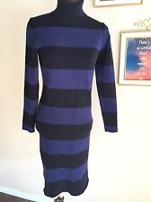 J Crew Black And Blue Striped Turtleneck Sweater Dress Small