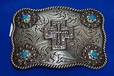 Nocona Ladies Western Crystal-Cross Belt Buckle With Turquoise Stones