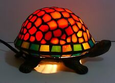 Stained Glass Turtle Tiffany-Style Heavy Brass Base Night Light Lamp Vintage
