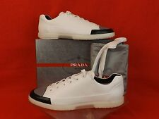 NIB PRADA WHITE LEATHER BLACK GRAY CUP TOE LACE UP FASHION SNEAKERS 11 / 12 $530