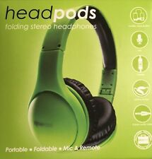 Headpods Folding iPhone Friendly Noise Cancelling Stereo Headphones In Green