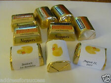 60 Personalized Rubber Duck Theme Candy Hershey Nugget Labels Wrappers