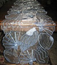"Organza Embroidered Seashell Table Runner Coastal Beach Nautical Decor 68""x 13"""