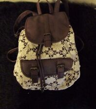 New flower lace brown leather like drawstring back pack purse relaxed roomy