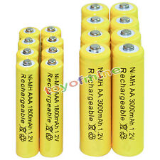 8 AA 3000mAh + 8 AAA 1800mAh battery Bulk Nickel Hydride Rechargeable 1.2V Yel