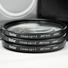 New Vivitar 67mm Close-up lens Kit +1 +2 +4  with Carry Case