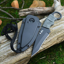 Master Cord Wrapped Handle Tactical Neck Knife + Sheath And Lanyard MU-1119GC