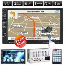 "GPS Navi 7"" HD 2 Din Bluetooth Car In-Dash Radio Stereo MP5 Player USB/FM + Map"