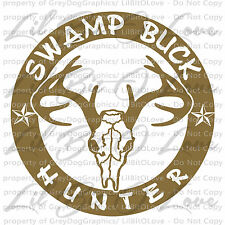 Swamp Buck Hunter Vinyl Decal Round Deer Hunting Bow Gun Hunt Sticker Stag Skull