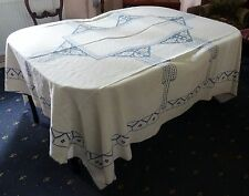 Very Large Vintage Blue Butterfly Embroidered Tablecloth