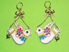 "BETSEY JOHNSON Dove/Bird+Bow 2.5"" Dangle Pierced Earrings"