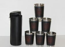 Ukrainian Traveling Set 6 Shot Glasses Stainless Steel Leather Case 4 oz Tryzub