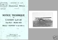 Lioré et Olivier LeO 20 Biplane Technical Manual archive rare period 1928