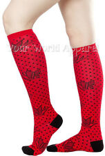 "SOURPUSS SPARROWS 17"" RED BLACK Knee High Socks Rockabilly Psychobilly PIN UP"