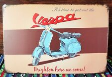 VBB Vespa 150 Brighton Here We Come! Tin Sign Metal Art Decor Mod Scooter Garage