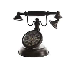 Vintage Shabby Style Telephone Design Desk Clock Decorative Retro Metal Ornament