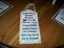NEW! YOUNGS  LAUNDRY ROOM RULES WOOD SIGN WITH BURLAP HANGING