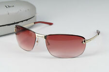 Auth Christian Dior Women's Sunglasses Rimless Silver Red Lens Free Ship 535k08