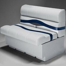 "Premium 38"" Pontoon Boat Seats In Gray, Blue and Charcoal"