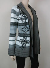 NWT $160 BCBG MAXAZRIA Tribal Cardigan Sweater Open Front Long Sleeve Gray L