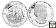 2014 'Grizzly Bear - O Canada' Proof $10 Silver Coin *No Tax (13838)