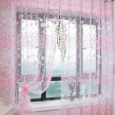 Floral Tulle Voile Door Window Curtain Drape Panel Sheer Scarf Valances Pink