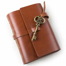 Ancicraft Leather Journal Diary with Vintage Key A6 Blank Paper Red Brown Gift