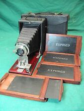 Early Korona #30 Wollensak Folding Box Camera + Case + 4 Wood Film Slide Cases