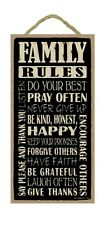 "FAMILY RULES Inspirational Primitive Wood Hanging Sign 5"" x 10"""