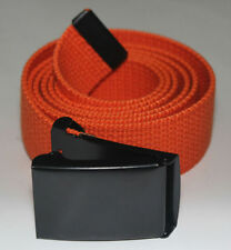 "NEW FLIP TOP ADJUSTABLE 54"" INCH ORANGE MILITARY WEB CANVAS BLACK BELT BUCKLE"