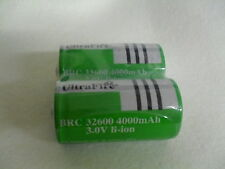 2x ULTRAFIRE BRC 32600 Battery 4000 mAh 3,0 Volt Lithium Ion