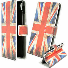UK Flag Leather Card Wallet Stand Case Phone Skin Cover For Sony Xperia M4 Aqua