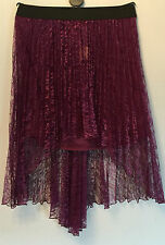 Lipsy Purple pleated floral lace high low fishtail party skirt-UK 12-RRP £35
