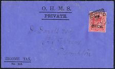 1903 1d Scarlet I.R.OFFICIAL on printed INCOME TAX Bodmin to Plympton Devon