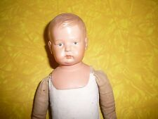 GERMAN SCHULTZ MARKE CELLULOID BOY, LEATHER RIVIT JNTD LEGS, BISQUE HANDS