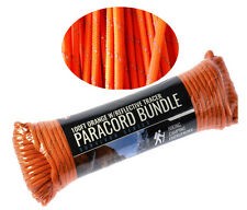 100' 550 Cord Paracord Lanyard 7 Strand Orange w/ Reflective Tracer Survival