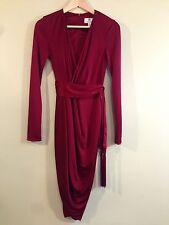 Altuzarra Ruby Hill Burgundy Red Bohemian Boho Wrap Dress w/ Fringe Belt Sz 2