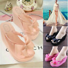 New Womens Platform Mid Heel Flip Flops Beach Sandals Bowknot Slippers Shoes 016