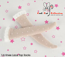 ☆╮Cool Cat╭☆【KS-L64】Blythe/Pullip Knee Lace Top Doll Socks # Point Lotus Root