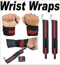 WEIGHTLIFTING WRIST WRAPS FITNESS TRAINING SUPPORT GYM COTTON BANDAGE BLACK RED