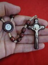 Mens Dark Brown European Wood Bead Saint Benedict Rosary Jesus Bethlehem Church