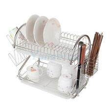 2 Tiers Kitchen Dish Cup Drying Rack Holder Dish Mug Multifunctional Metal Rack