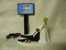 Wedding Cake Topper Motorcycle Hog Biker ~Game Over Sign~  Drunk Groom Beer Cans