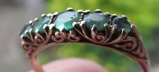 Vintage 9ct gold 5 stone ring, green stone.