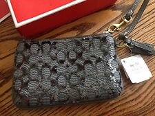 NEW Coach Poppy Signature Sequin Small Wristlet Grey 50481 NWT