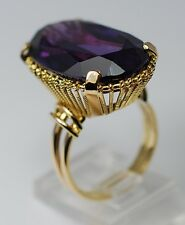 Dramatic Estate 25ct Synthetic Color Change Sapphire Ring 18k Yellow Gold