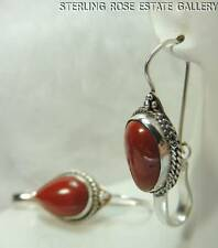 "VINTAGE 1 1/2"" REDDISH BROWN QUARTZ STERLING SILVER 0.925 DANGLING WIRE EARRINGS"