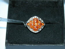 LOT 186 GREAT SPESSARTITE GARNET + WHITE TOPAZ SOLID STERLING SILVER RING SIZE J